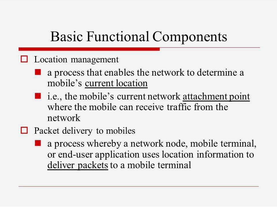 Handoff and roaming handoff (or handover) a process in which a mobile terminal changes its network attachment point example: a mobile may be handed off from one wireless base station (or access point) to another, or from one router or switch to another roaming the ability for a user to move into and use different operators networks