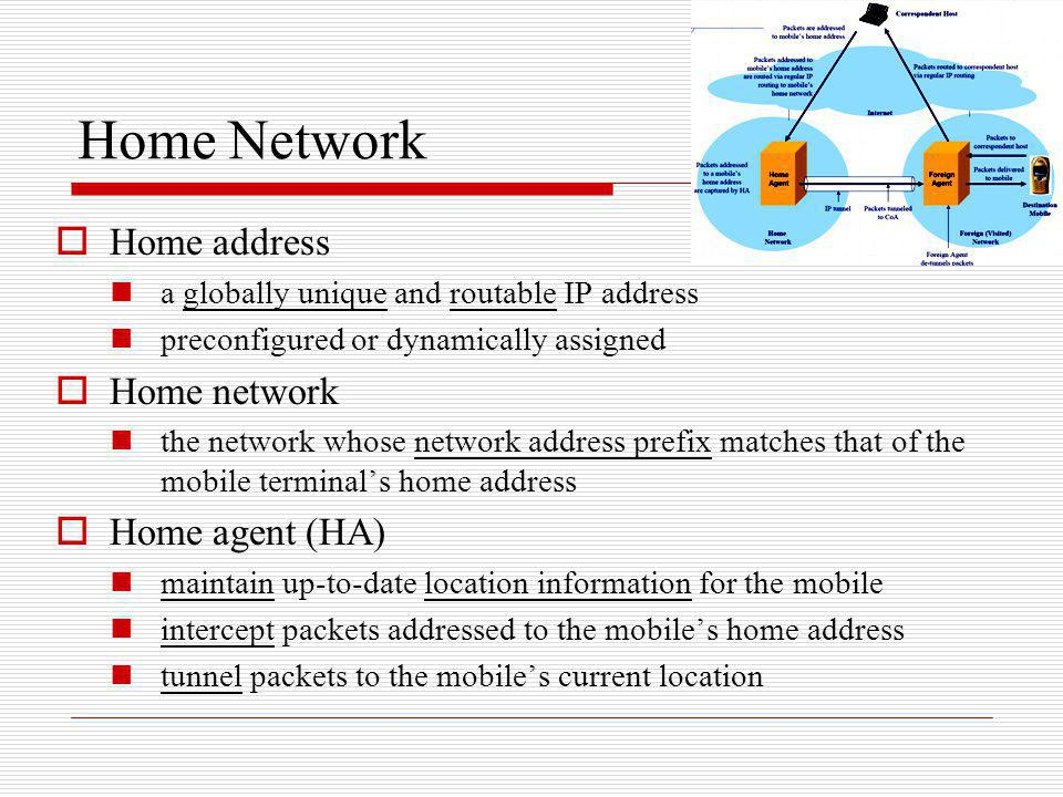Home Network Home address a globally unique and routable IP address preconfigured or dynamically assigned Home network the network whose network addre