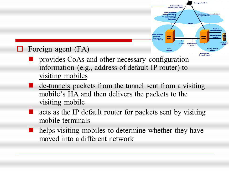 Foreign agent (FA) provides CoAs and other necessary configuration information (e.g., address of default IP router) to visiting mobiles de-tunnels pac