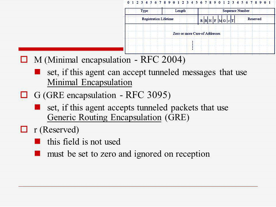 M (Minimal encapsulation - RFC 2004 ) set, if this agent can accept tunneled messages that use Minimal Encapsulation G (GRE encapsulation - RFC 3095 )