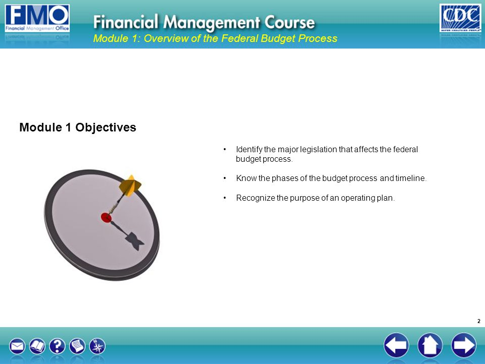 Identify the major legislation that affects the federal budget process. Know the phases of the budget process and timeline. Recognize the purpose of a