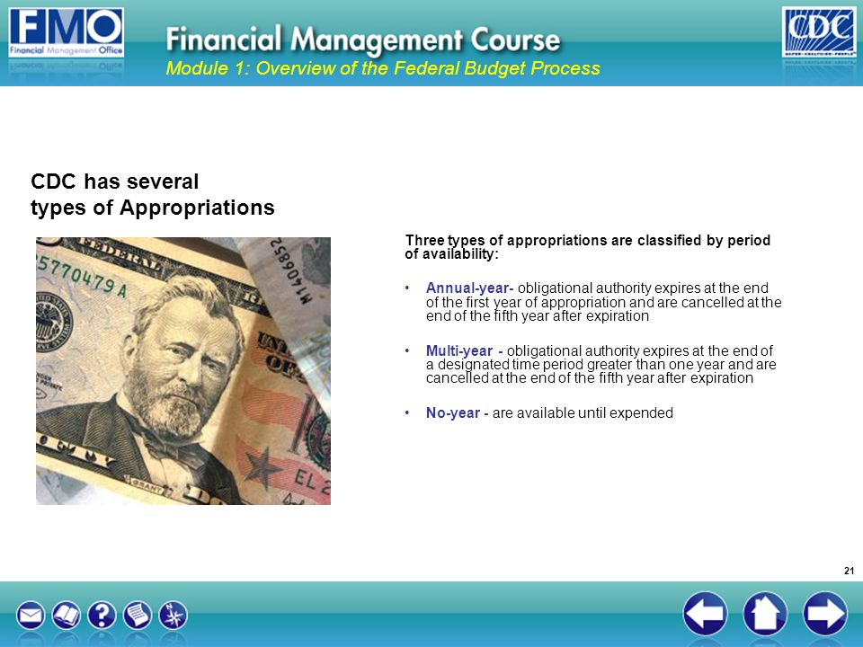Module 1: Overview of the Federal Budget Process CDC has several types of Appropriations Three types of appropriations are classified by period of ava