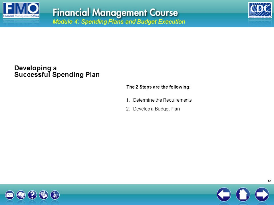 The 2 Steps are the following: 1.Determine the Requirements 2.Develop a Budget Plan Developing a Successful Spending Plan Module 4: Spending Plans and