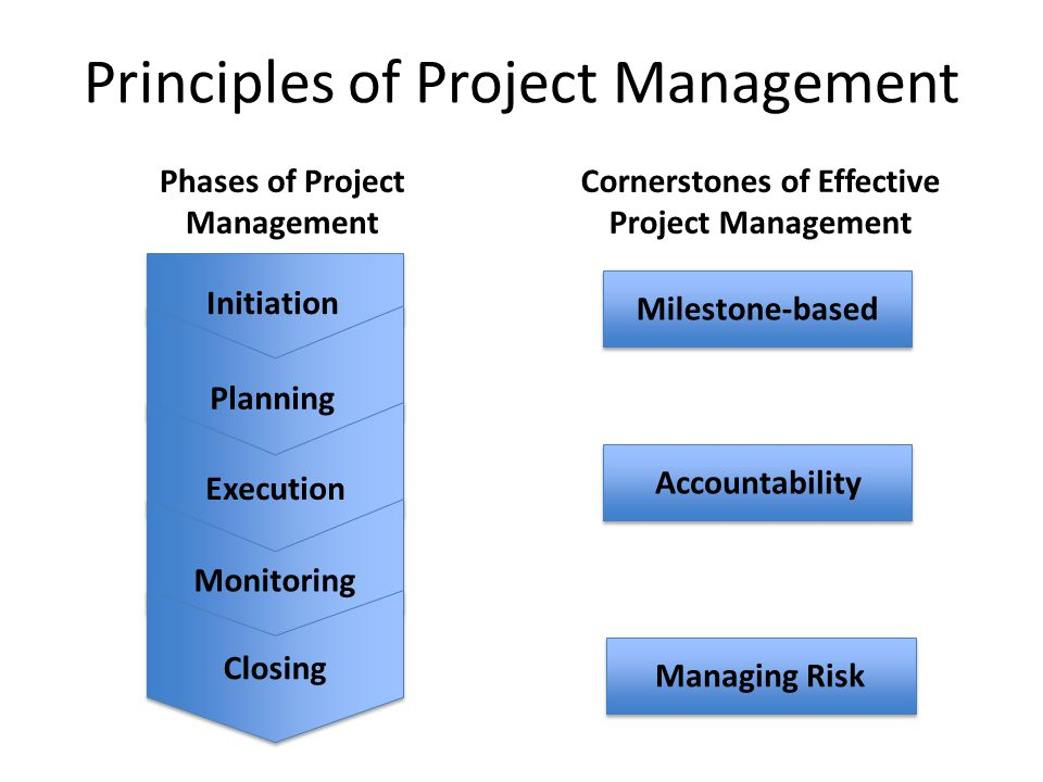 Principles of Project Management Phases of Project Management Cornerstones of Effective Project Management Initiation Planning Execution Monitoring Closing Milestone-basedAccountabilityManaging Risk