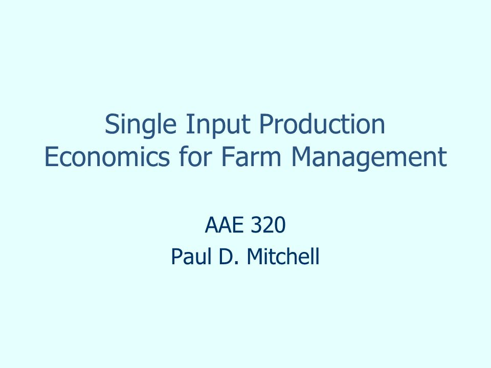 Calculus and Production Economics = 10(30 + 5X – 0.4X 2 ) – 2X – 18 FOC: 10(5 – 0.8X) – 2 = 0 10(5 – 0.8X) = 2 p x MP = r 5 – 0.8X = 2/10 MP = r/p When you solve the FOC, you set VMP = r and/or MP = r/p