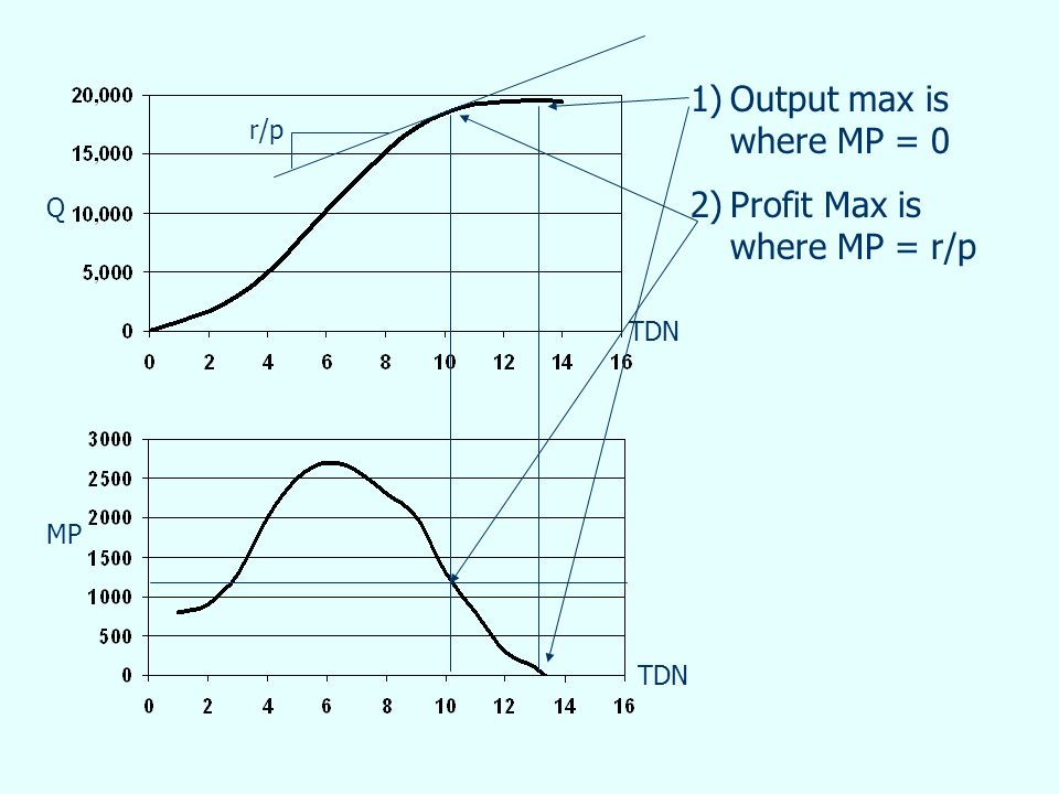 TDN Q MP 1)Output max is where MP = 0 2)Profit Max is where MP = r/p r/p