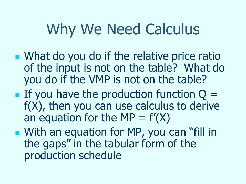 Why We Need Calculus What do you do if the relative price ratio of the input is not on the table.