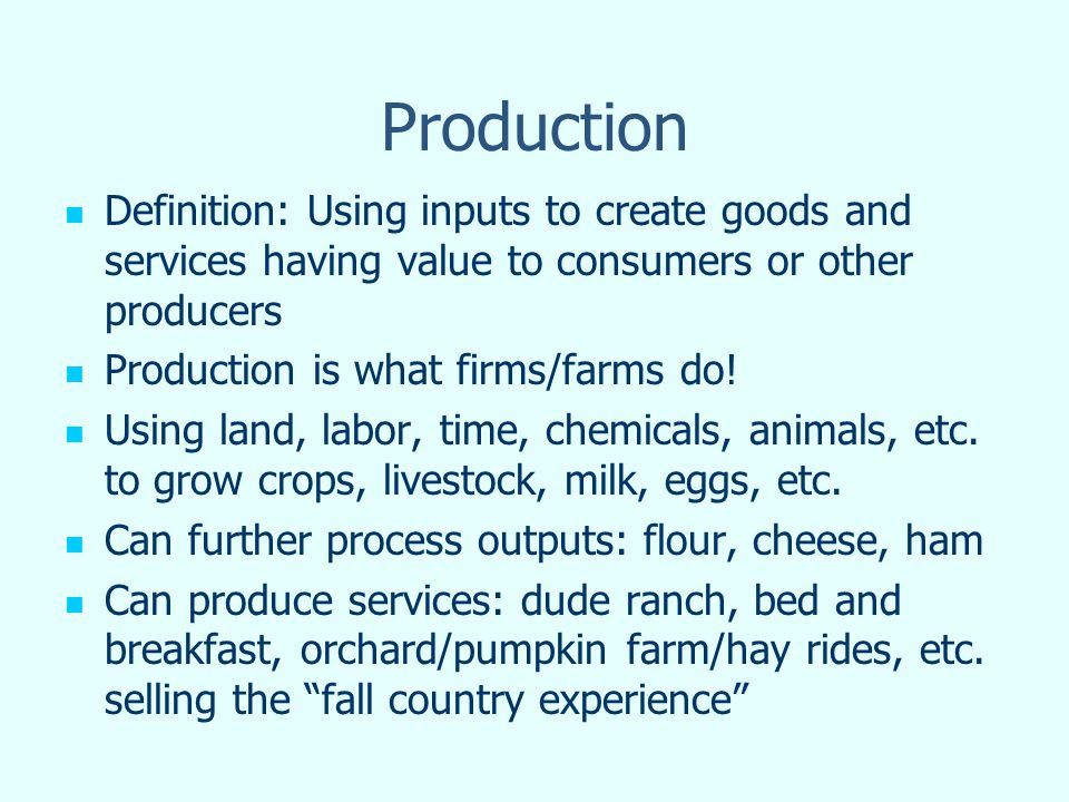 Production Function Production Function: gives the maximum amount of output(s) that can be produced for the given input(s) Generally two types: Tabular Form (Production Schedule) Mathematical Function