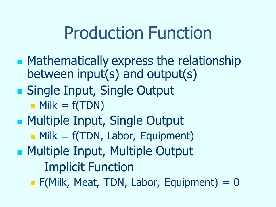 Production Function Mathematically express the relationship between input(s) and output(s) Single Input, Single Output Milk = f(TDN) Multiple Input, S