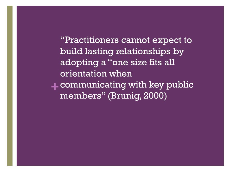 + Practitioners cannot expect to build lasting relationships by adopting a one size fits all orientation when communicating with key public members (Brunig, 2000)