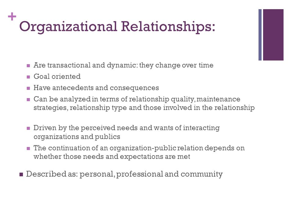 + Organizational Relationships: Are transactional and dynamic: they change over time Goal oriented Have antecedents and consequences Can be analyzed in terms of relationship quality, maintenance strategies, relationship type and those involved in the relationship Driven by the perceived needs and wants of interacting organizations and publics The continuation of an organization-public relation depends on whether those needs and expectations are met Described as: personal, professional and community
