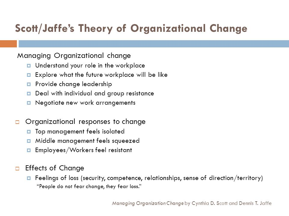 Scott/Jaffes Theory of Organizational Change Managing Organization Change by Cynthia D. Scott and Dennis T. Jaffe Managing Organizational change Under