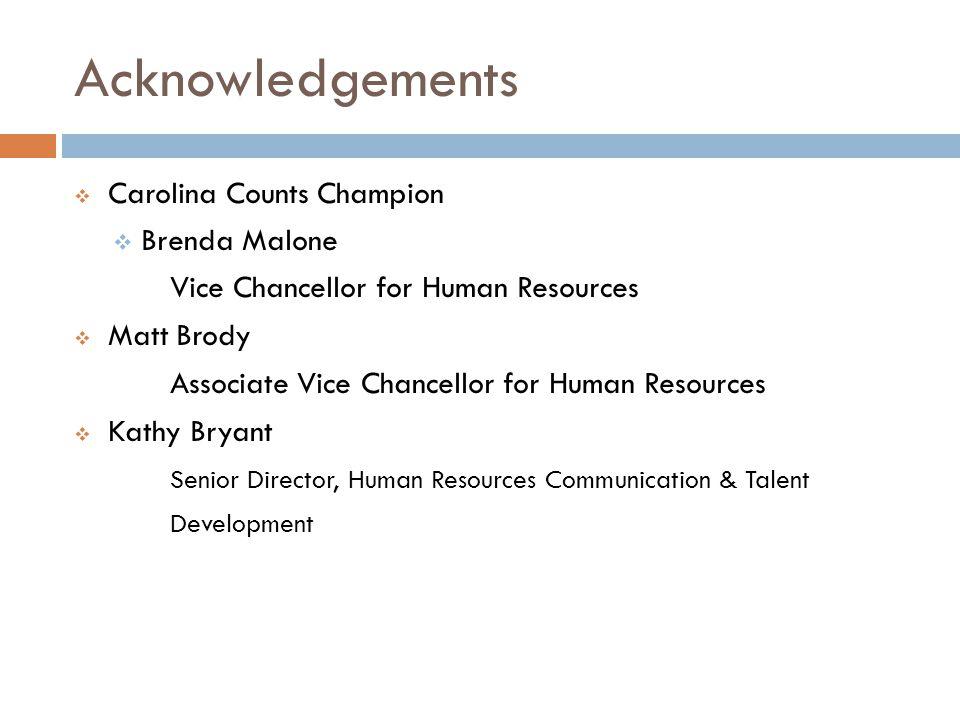Acknowledgements Carolina Counts Champion Brenda Malone Vice Chancellor for Human Resources Matt Brody Associate Vice Chancellor for Human Resources K