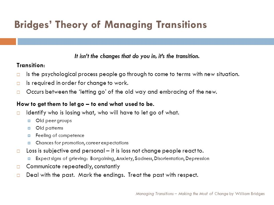 Bridges Theory, contd.Managing the Neutral Zone – the key to transition.