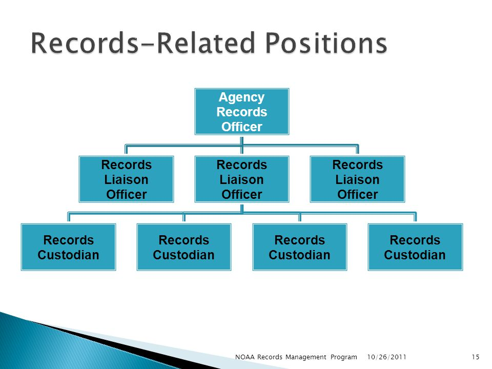 Agency Records Officer Records Liaison Officer Records Custodian Records Liaison Officer 10/26/2011 15NOAA Records Management Program
