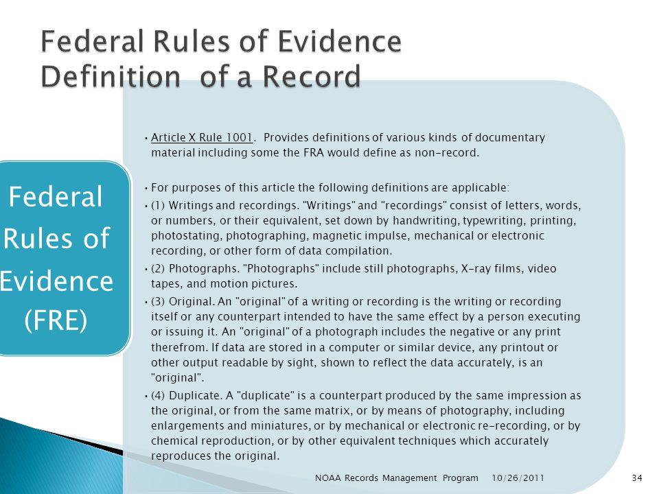 Article X Rule 1001.