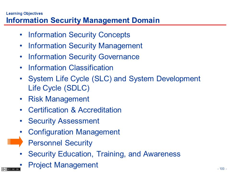 - 100 - Learning Objectives Information Security Management Domain Information Security Concepts Information Security Management Information Security
