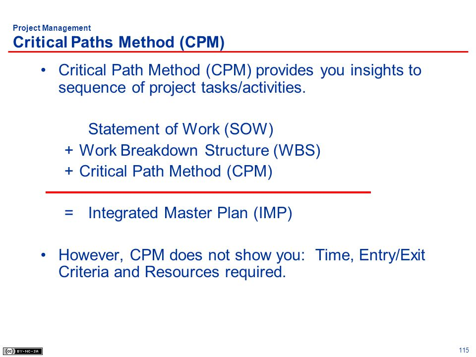 115 Project Management Critical Paths Method (CPM) Critical Path Method (CPM) provides you insights to sequence of project tasks/activities. Statement