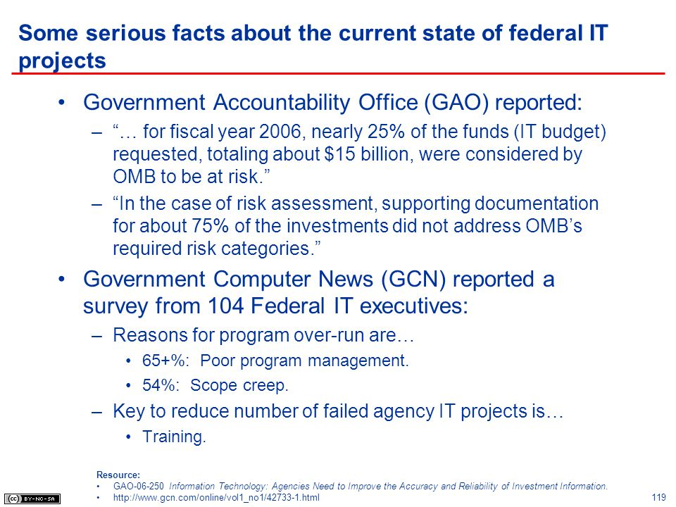 Some serious facts about the current state of federal IT projects Government Accountability Office (GAO) reported: –… for fiscal year 2006, nearly 25%