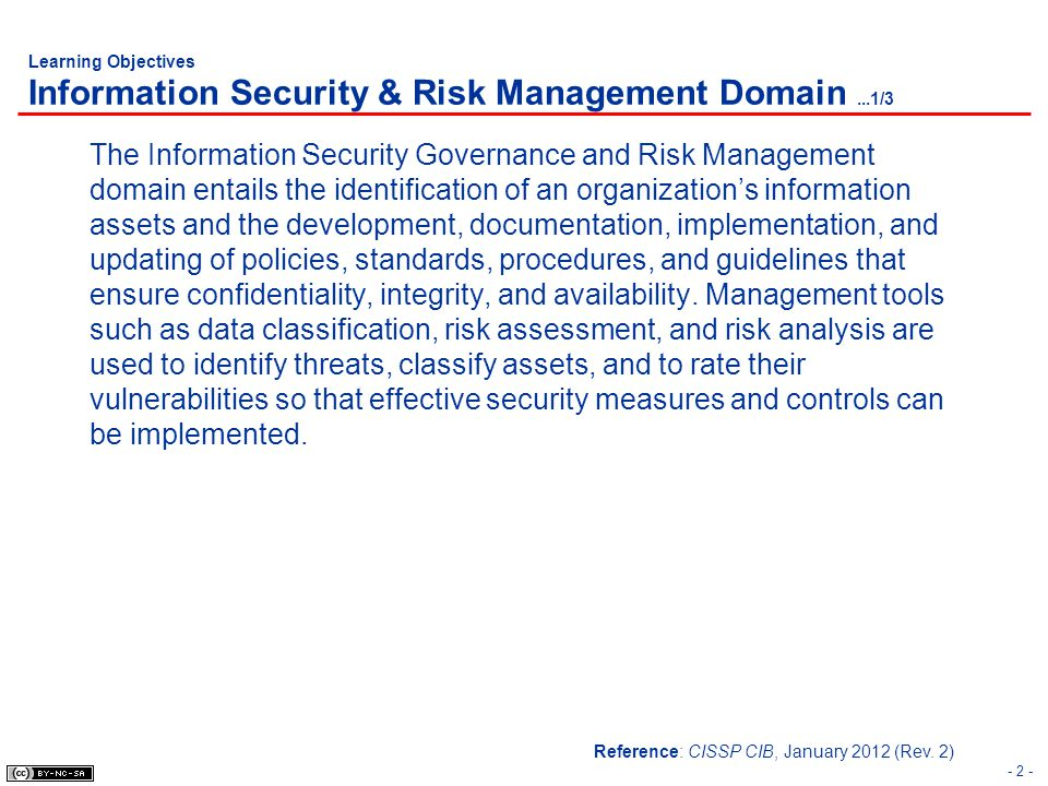 Learning Objectives Information Security & Risk Management Domain...1/3 The Information Security Governance and Risk Management domain entails the ide