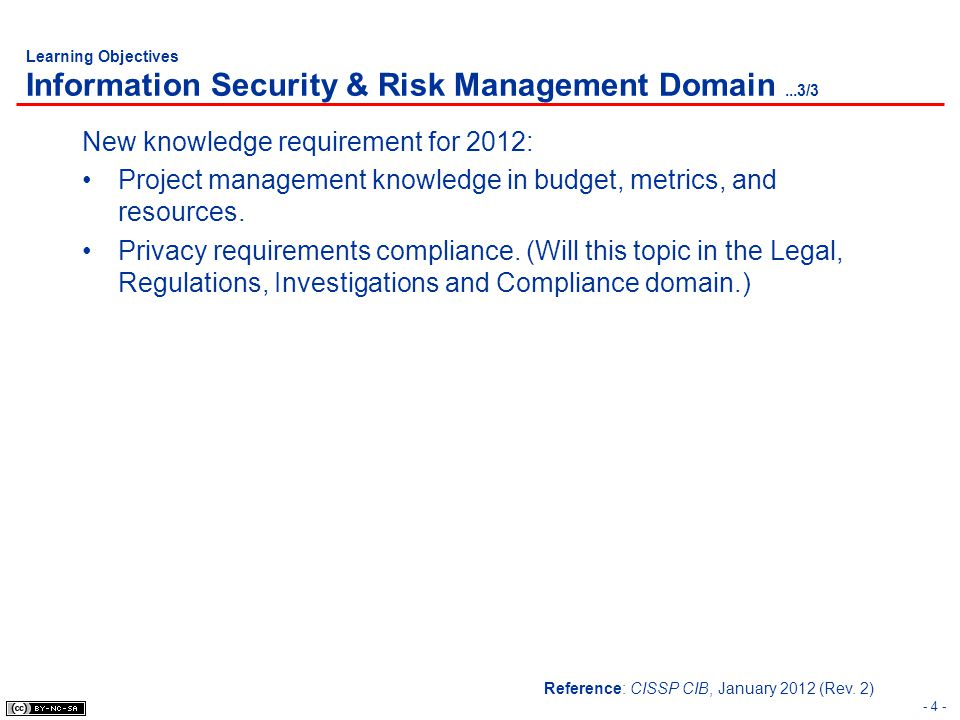 Learning Objectives Information Security & Risk Management Domain...3/3 New knowledge requirement for 2012: Project management knowledge in budget, me