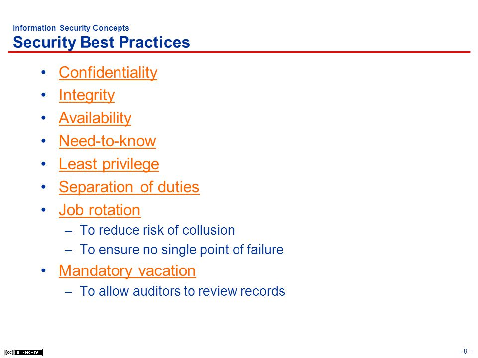 - 19 - Information Security Concepts Due Care vs.