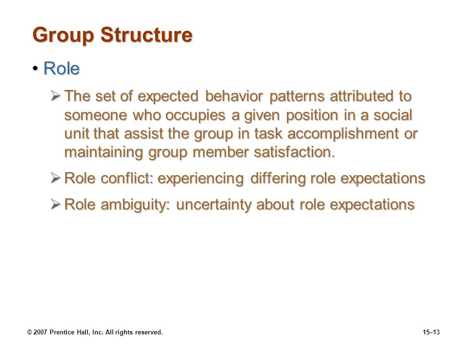 © 2007 Prentice Hall, Inc. All rights reserved.15–13 Group Structure RoleRole The set of expected behavior patterns attributed to someone who occupies