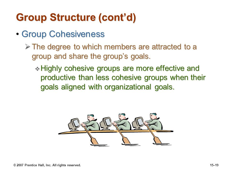 © 2007 Prentice Hall, Inc. All rights reserved.15–19 Group Structure (contd) Group CohesivenessGroup Cohesiveness The degree to which members are attr