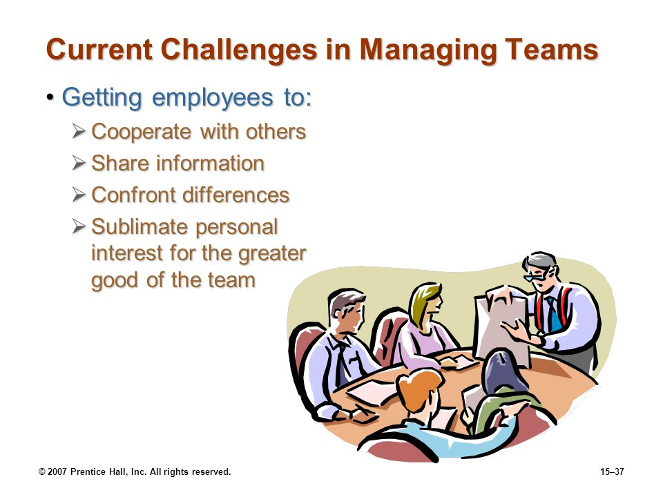 © 2007 Prentice Hall, Inc. All rights reserved.15–37 Current Challenges in Managing Teams Getting employees to:Getting employees to: Cooperate with ot
