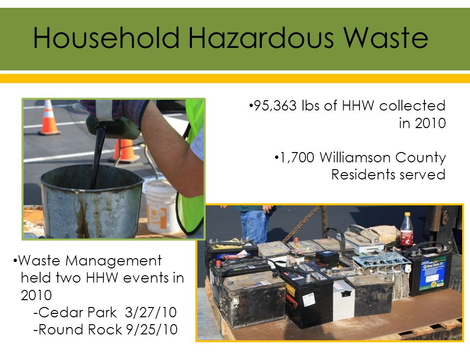 95,363 lbs of HHW collected in 2010 1,700 Williamson County Residents served Waste Management held two HHW events in 2010 -Cedar Park 3/27/10 -Round Rock 9/25/10 Household Hazardous Waste