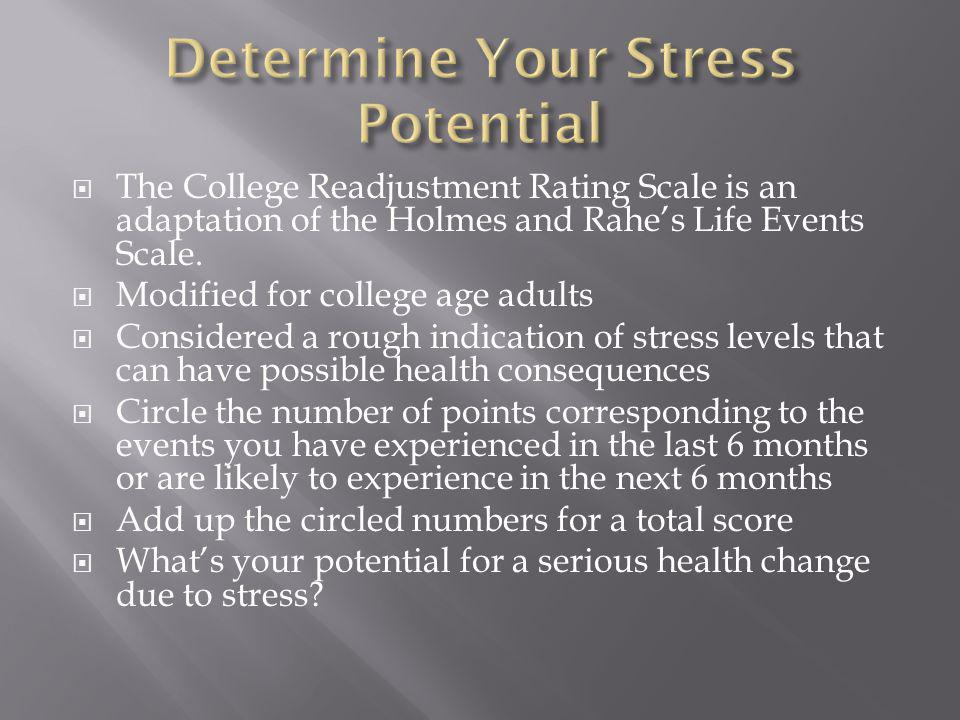 The College Readjustment Rating Scale is an adaptation of the Holmes and Rahes Life Events Scale.