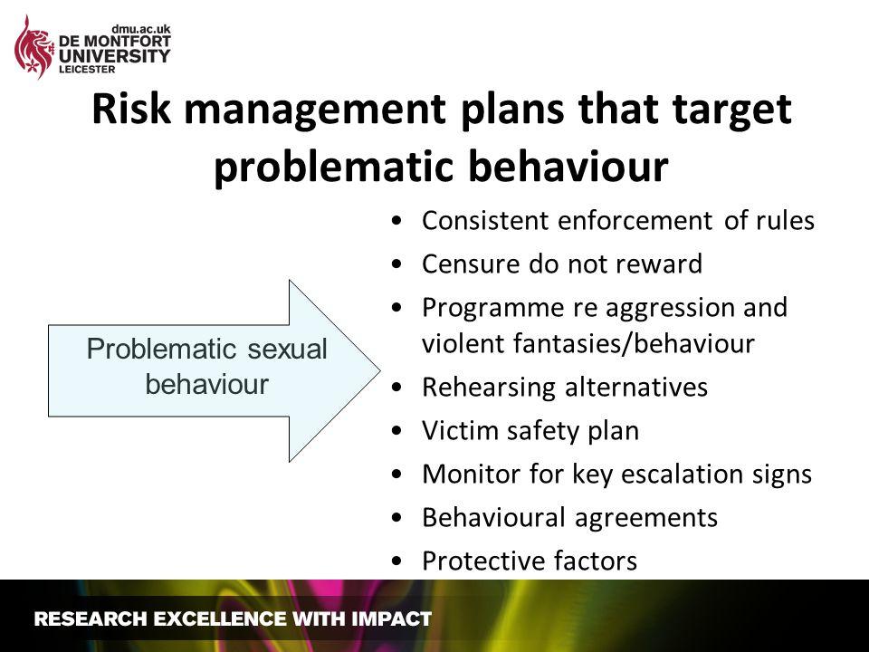 Risk management plans that target problematic behaviour Consistent enforcement of rules Censure do not reward Programme re aggression and violent fant