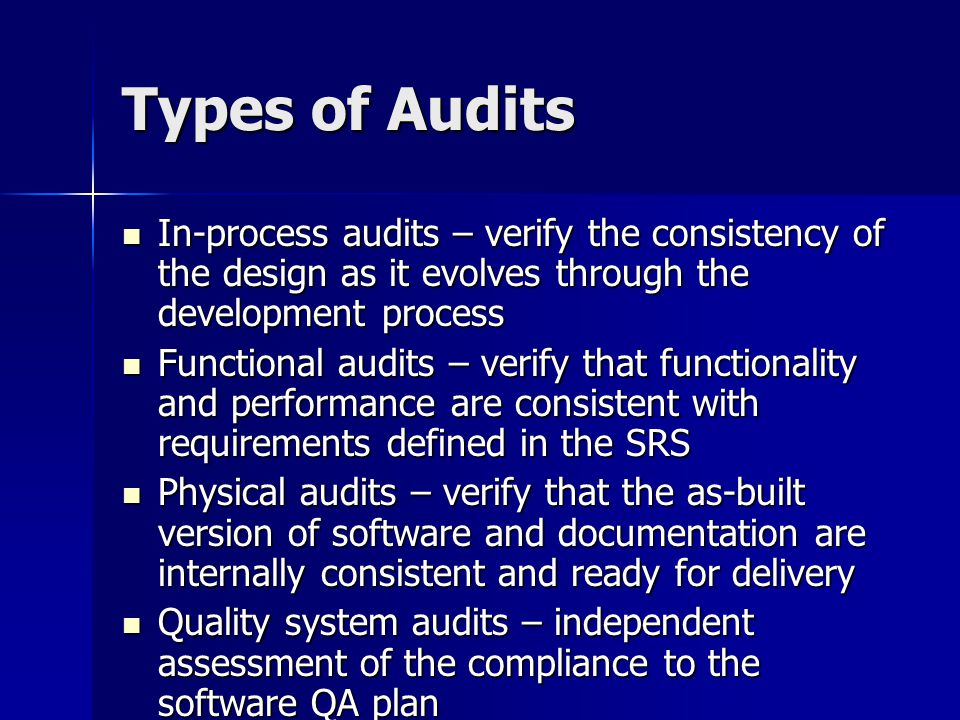 Types of Audits In-process audits – verify the consistency of the design as it evolves through the development process In-process audits – verify the