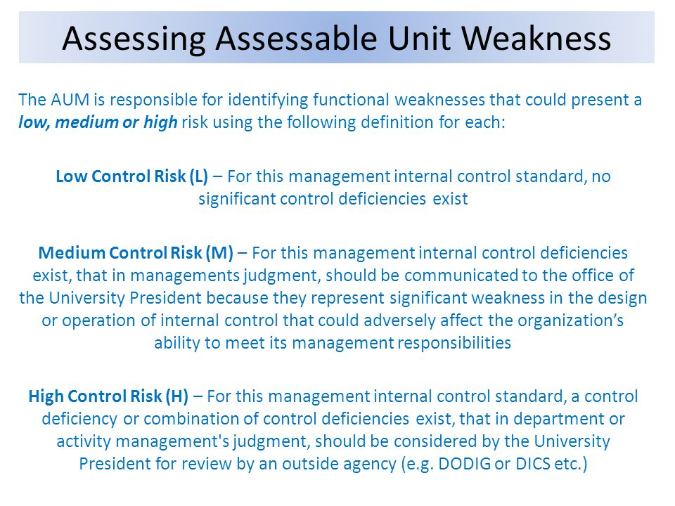 The AUM is responsible for identifying functional weaknesses that could present a low, medium or high risk using the following definition for each: Lo