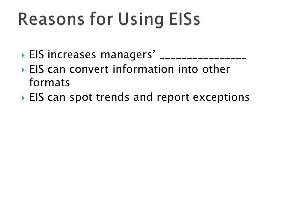 EIS increases managers ________________ EIS can convert information into other formats EIS can spot trends and report exceptions