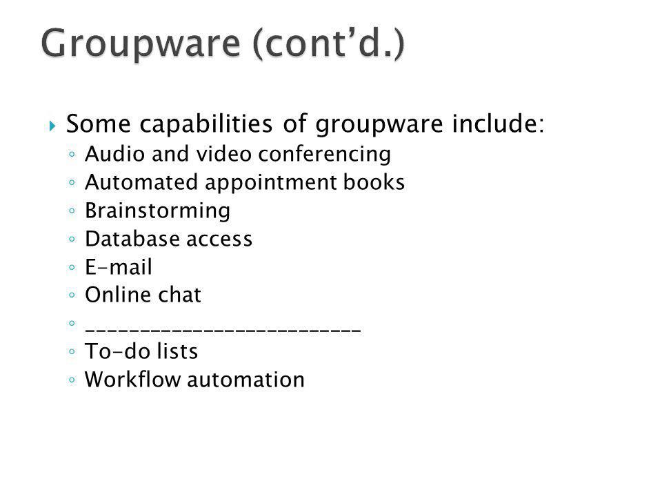 Some capabilities of groupware include: Audio and video conferencing Automated appointment books Brainstorming Database access E-mail Online chat ____