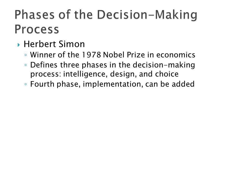 Herbert Simon Winner of the 1978 Nobel Prize in economics Defines three phases in the decision-making process: intelligence, design, and choice Fourth