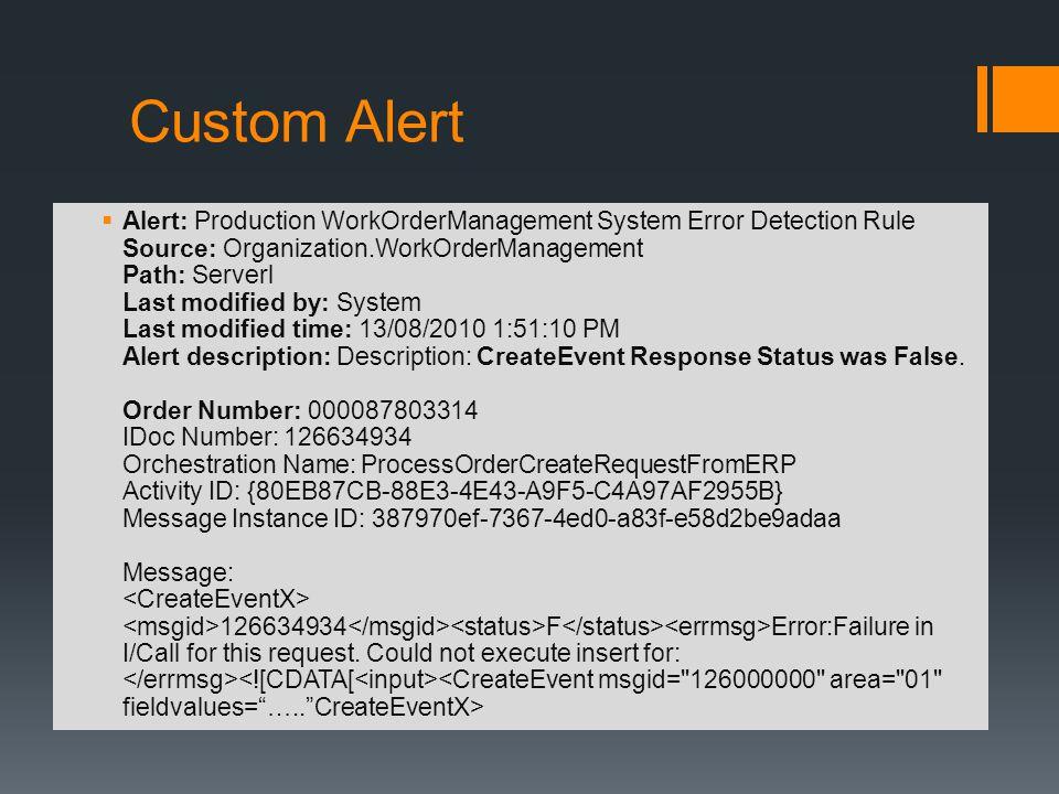 Custom Alert Alert: Production WorkOrderManagement System Error Detection Rule Source: Organization.WorkOrderManagement Path: Serverl Last modified by