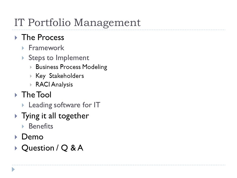 IT Portfolio Management The Process Framework Steps to Implement Business Process Modeling Key Stakeholders RACI Analysis The Tool Leading software fo