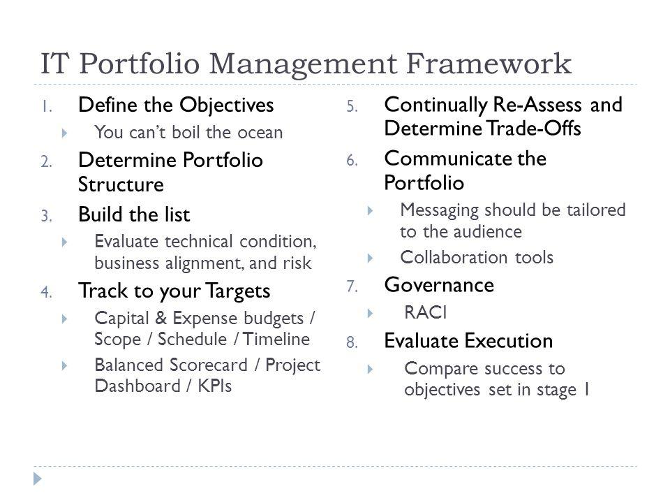 IT Portfolio Management Framework 1. Define the Objectives You cant boil the ocean 2. Determine Portfolio Structure 3. Build the list Evaluate technic