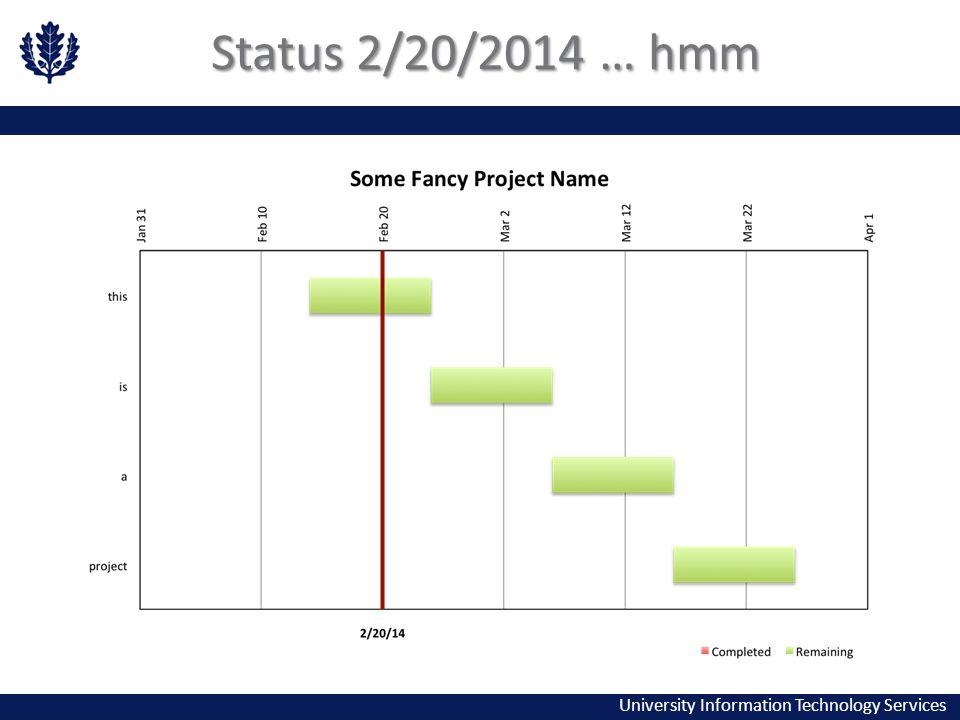 University Information Technology Services Status 2/20/2014 … hmm