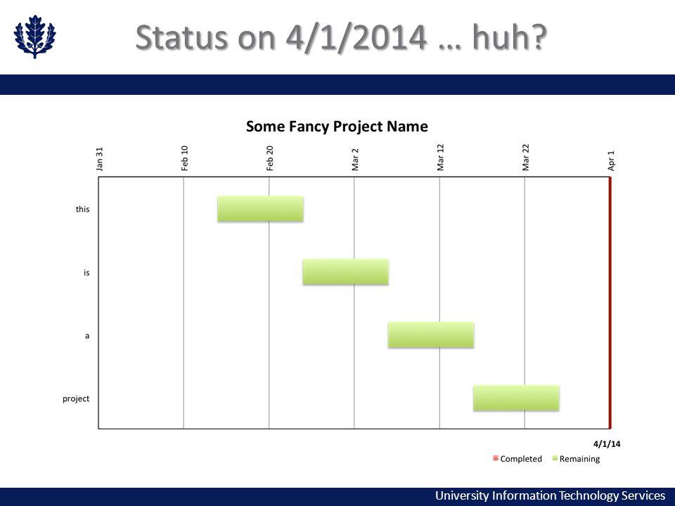 University Information Technology Services Status on 4/1/2014 … huh