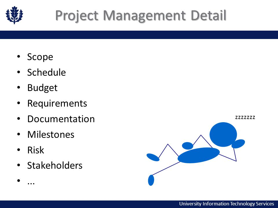 University Information Technology Services Project Management Detail Scope Schedule Budget Requirements Documentation Milestones Risk Stakeholders...