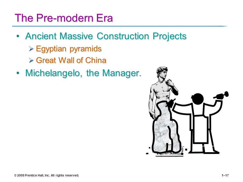 © 2008 Prentice Hall, Inc. All rights reserved.1–17 The Pre-modern Era Ancient Massive Construction ProjectsAncient Massive Construction Projects Egyp