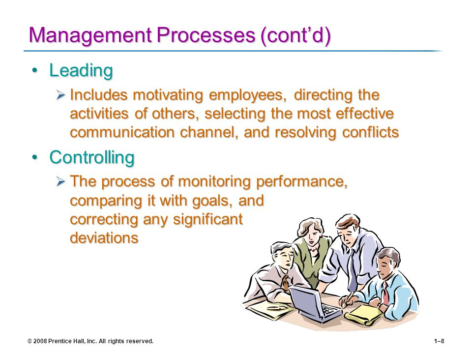 © 2008 Prentice Hall, Inc. All rights reserved.1–8 Management Processes (contd) LeadingLeading Includes motivating employees, directing the activities