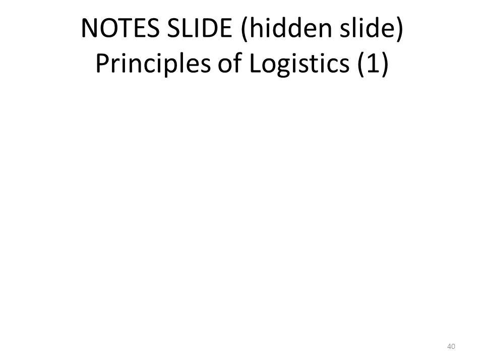 NOTES SLIDE (hidden slide) Principles of Logistics (1) 40