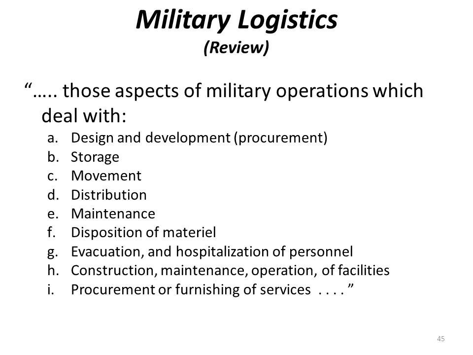 Military Logistics (Review) …..