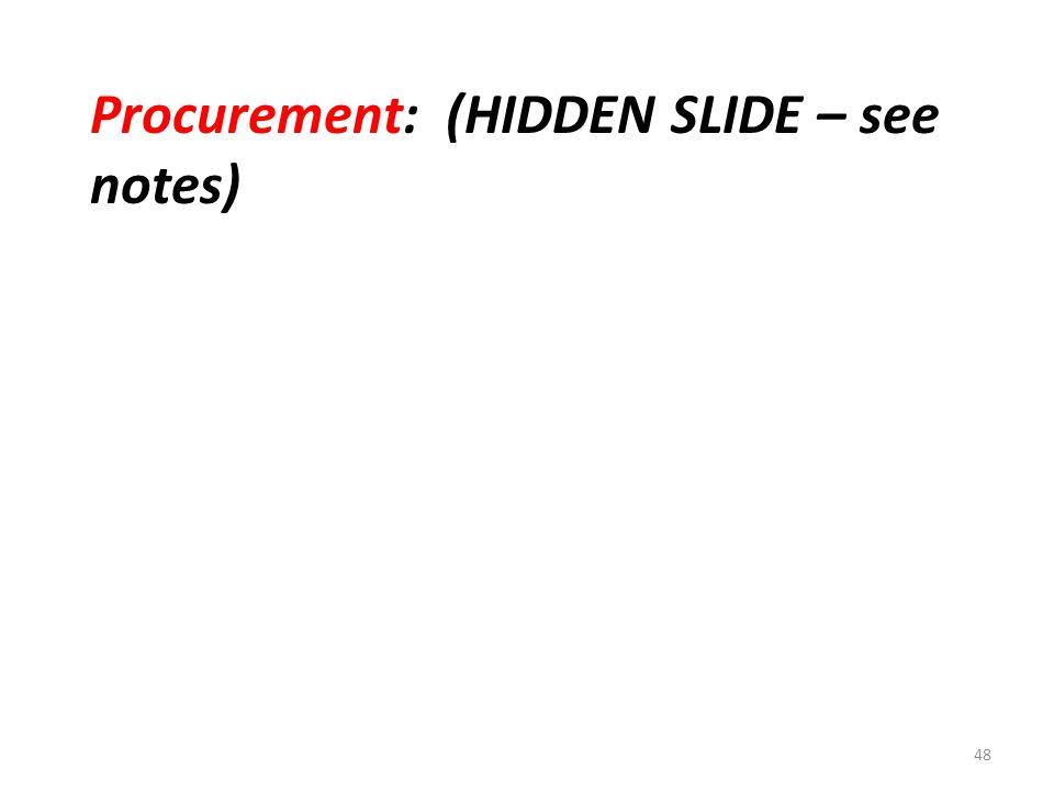 Procurement: (HIDDEN SLIDE – see notes) 48