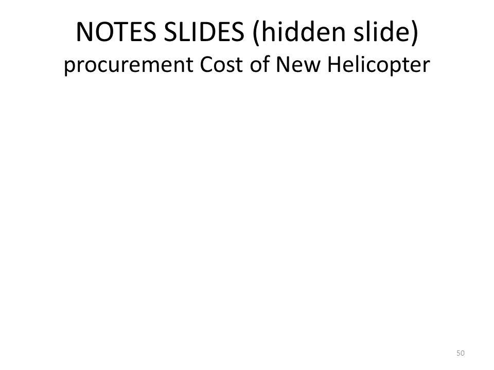 NOTES SLIDES (hidden slide) procurement Cost of New Helicopter 50