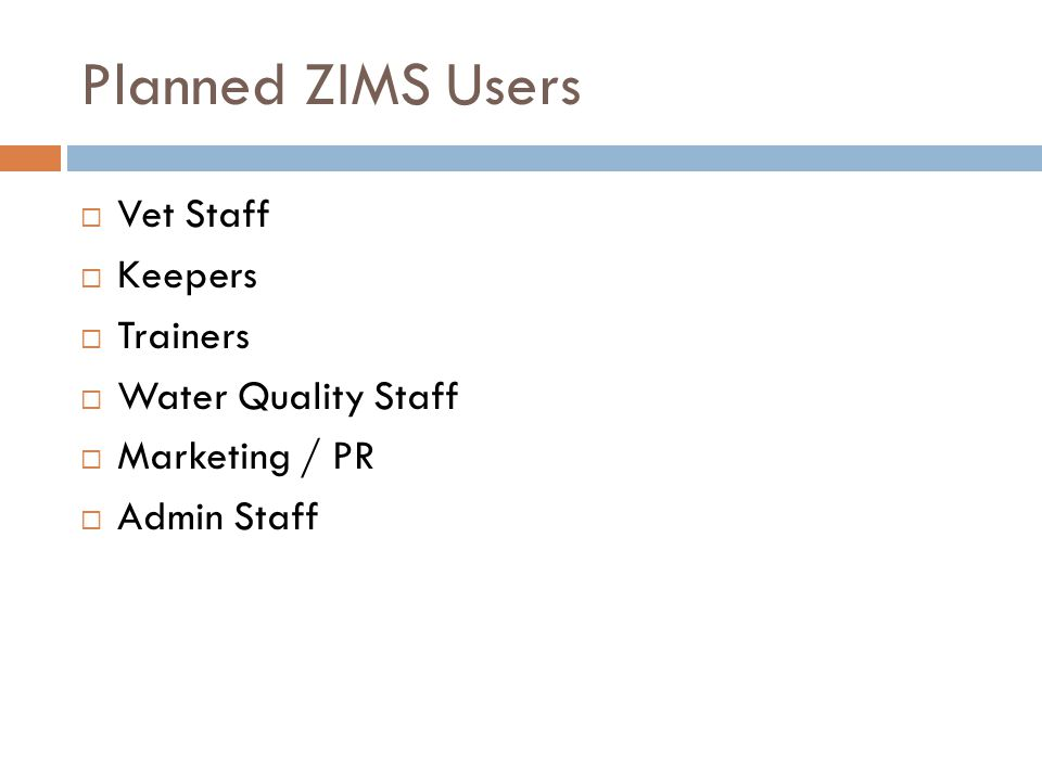 ZIMS Data Entry Users vs.